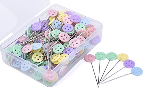 JoyFamily Flat Button Head Pins Boxed,200 Pieces Pack(Mixed Color)